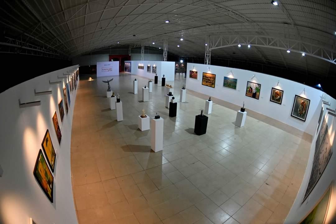 """جانب من معرض """"غزة فن / مقارنات تأملية"""" ضمن مشروع روابط معاصرة، لمحترف شبابيك."""